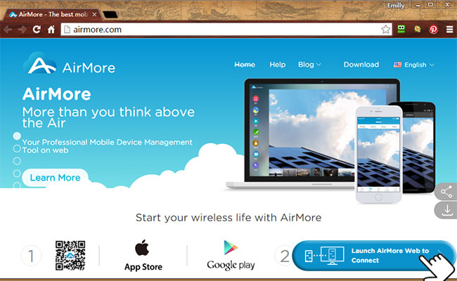 AirMore Web page