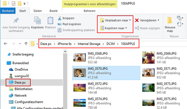 Foto's kopiëren naar de PC